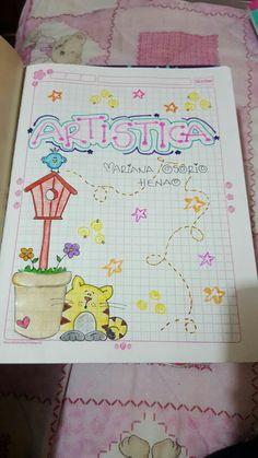 Portadas para artes Art Drawings For Kids, Easy Drawings, Diy And Crafts, Crafts For Kids, Paper Crafts, Cute Journals, Doodle Icon, School Notebooks, Borders For Paper
