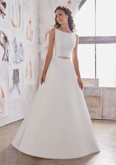 Simple Wedding Dresses Designer Wedding Dresses and Bridal Gowns by Morilee. Simple Yet Elegant, This Satin A-Line Bridal Dress has pockets and features a Jewel Beaded Belt and Straps. A Line Bridal Gowns, Elegant Wedding Dress, Perfect Wedding Dress, Bridal Wedding Dresses, Wedding Dress Styles, Dream Wedding Dresses, Designer Wedding Dresses, Trendy Wedding, 2017 Bridal