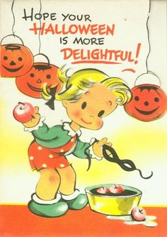 Gibson Halloween Greeting Card Apple Bobbing Girl Scared by Ghost | eBay