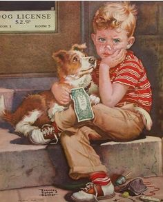 Frances Tipton Hunter- Vintage illustration of a boy with his Collie puppy ~. He may not have enough money to buy his pup a dog license. Retro Art, Vintage Art, Norman Rockwell Art, Nostalgic Art, Dog Icon, Cross Stitch Pictures, Retro Illustration, Cross Paintings, Vintage Children