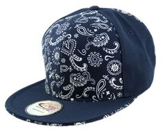 Bandana Print Adjustable Snapback Caps made from 100% Acrylic Wool. Snapbacks are in visor colors.