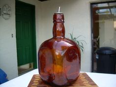 Vintage Amber colored Glass  bottle with cork spout