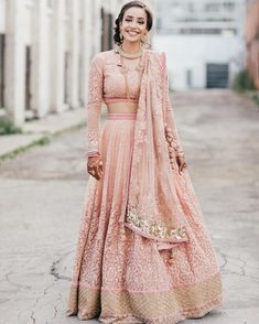 Golden Pink Long Sleeve Bridal Lehenga by Mani Jassal Indian Bridal Wear, Indian Wedding Outfits, Pakistani Outfits, Bridal Outfits, Indian Outfits, Bridal Dresses, Asian Bridal, Lehenga Designs, Saris