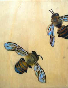 Bee Art Panel 2, via Etsy. Print of oil on wood painting: Melissa Mickle - Journey of the Bees