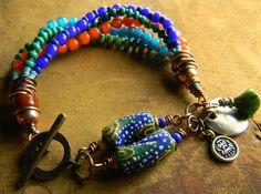 African Trade Bead Bracelet Tribal Jewelry Krobo by ChrysalisToo, $75.00