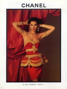 Chanel (Couture) 1987 Evening Gown, Chandelier Jewels... ah yes, it's Inès De La Fressange!