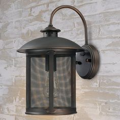 "$145 Prairie Screened Outdoor Sconce (15.25""Hx9.5""Wx10.75""ext.) 5"" round back plate."