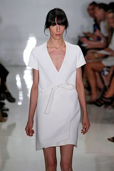 The 14 Need-To-Know Trends Of 2015 #refinery29  http://www.refinery29.com/2014/09/74344/fashion-week-trends-spring-2015-runway-shows#slide22  Nurse Ratched GownsOne may have flown over the cuckoo's nest but fashion's Nurse Ratched is anything but crazy. Instead, these white sheath dresses are taking clean, simple dressing up a notch. Invest in one, STAT. Here's Chado Ralph Rucci's interpretation.
