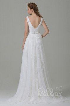 Perfect Sheath-Column V-Neck Natural Train Tulle Ivory Sleeveless Open Back Wedding Dress with Sashes CWAT15002