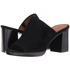 Frye Blake Mule (Black Suede) Women's Clog/Mule Shoes ($258) ❤ liked on Polyvore featuring shoes, high heel mule shoes, mule shoes, high heeled footwear, high heel platform shoes and platform shoes