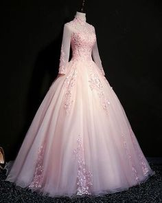 Pink tulle beaded long lace applique formal prom dress evening dress with sleeve Quince Dresses, Ball Dresses, Pink Ball Gowns, Party Dresses, Club Dresses, Junior Prom Dresses, Formal Dresses, Formal Prom, Evening Dresses With Sleeves