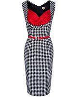 Lindy Bop 'Vanessa' Elegant Black Dogtooth Vintage 50's Wiggle Dress