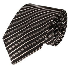Mens Necktie Black Brown and Ivory Pinstripe Standard Size Tie -- Learn more @ http://www.amazon.com/gp/product/B01K3AFMN6/?tag=christmas3638-20&pwx=260916232530