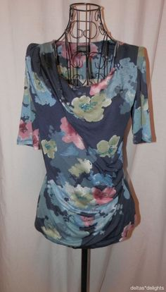 DELETTA TOP XS Black Blue Floral Short Sleeve Drape Neck Tencel ANTHROPOLOGIE  #Deletta #KnitTop #Casual