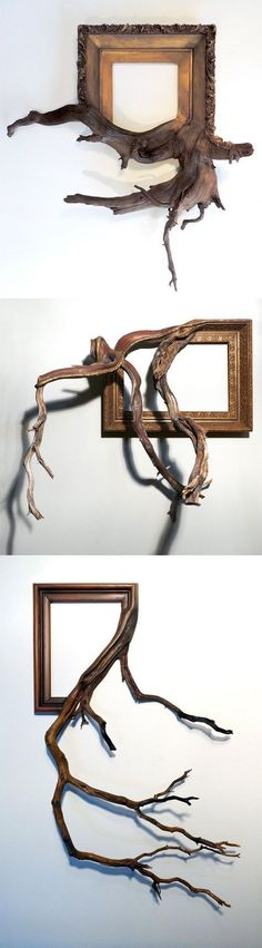 Twisted Tree Branches Fused with Ornate Picture Frames by Darryl Cox Wood is the most beautiful and natural material. Ornate Picture Frames, Twisted Tree, Driftwood Art, Tree Branches, Wood Carving, Wood Projects, Cool Art, Sculptures, Cool Stuff
