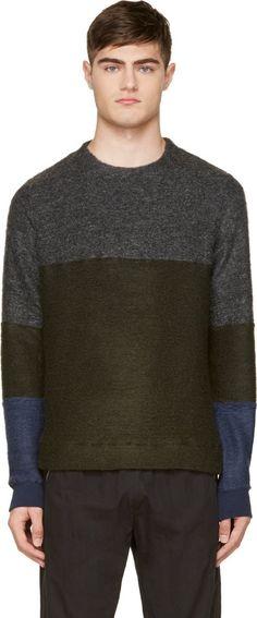 Robert Geller - Green Colorblocked Mohair Sweater