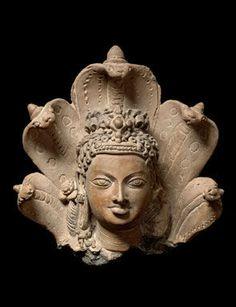 Head of Manasa, the serpent goddess, Eastern India, Gupta period, early 6th century, Terracotta