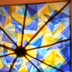 Stained glass window I made with tissue paper