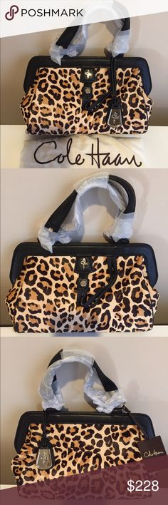 "Cole Haan ""Gracie"" Leopard Print Satchel Handbag NWT Cole Haan ""Gracie"" Small Satchel. Gorgeous leopard-print hair calf with black leather trim. Magnetic closure. Measures 10 1/2"" long by 7"" tall by 4 1/2"" wide. Comes with dust jacket. Just listed! Cole Haan Bags Satchels"