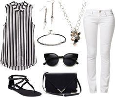 ¿Qué zapatos combinar un pantalón blanco? White jeans + perfect match + statement printed top + cute blue & white striped blouse + Banana Republic + Amy Jackson + two pieces + pair of neutral coloured heels + simple but… Continue Reading → Amy Jackson, Jeans Outfit Summer, Cute Summer Outfits, White Outfits, Sexy Outfits, Dinner Date Outfits, Outfits 2014, Fashion Corner, Black And White Tops
