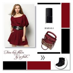 """""""Marsala Dress"""" by aneetaalex ❤ liked on Polyvore featuring NARS Cosmetics, Alexander McQueen and Rupert Sanderson"""