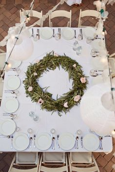 A beautiful floral wreath centerpiece inspired by Minted's Botanical Wreath invitations. Order here: http://www.minted.com/product/wedding-invitations/MIN-7X1-INV/botanical-wreath?org=photo