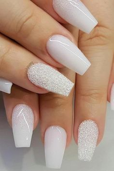 35 Simple Ideas for Wedding Nails Design 1 Silver Acrylic Nails, Acrylic Nails Coffin Short, Best Acrylic Nails, White And Silver Nails, White Nail Art, Black Nails, Bride Nails, Prom Nails, Wedding Nails