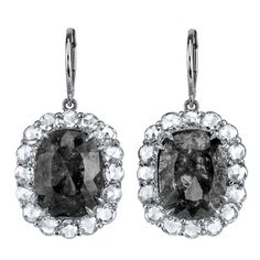 Platinum Rose Cut Grey Diamond Earrings | From a unique collection of vintage dangle earrings at http://www.1stdibs.com/jewelry/earrings/dangle-earrings/