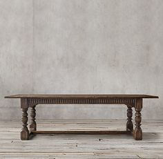 RH's 17th C. Refectory Rectangular Dining Table:Like the banquet tables used in 17th-century English castles, this piece is boldly scaled and richly detailed. Bracketed corners frame the fluted apron, and the baluster-turned legs are joined by thick stretchers.