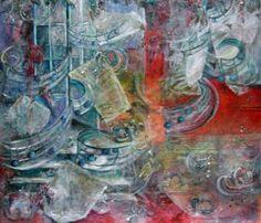Peinture à l'huile et collage sur toile