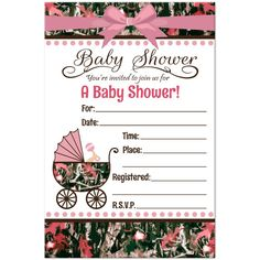 Personalized pink camo baby shower invitation available at boardman realtree camo pink baby shower invitation filmwisefo Gallery