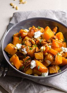 Honey Garlic Butternut Squash - 20 minute dinner with toasted nuts and soft goat cheese. Delicious, healthy and easy.
