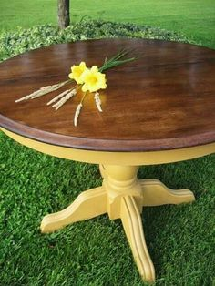 Colorful Painted Dining Table Inspiration - Addicted 2 Decorating - March 23 2019 at Paint Furniture, Furniture Makeover, Furniture Dolly, Yellow Bedroom Furniture, Furniture Design, Rooms Furniture, Furniture Cleaning, Furniture Movers, Furniture Online
