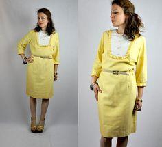 60s Yellow Dress Bib Dress Pencil Dress Mod Dress by ItaLaVintage