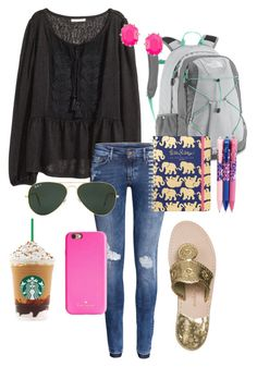 """I hate school"" by whalesandprints ❤ liked on Polyvore featuring H&M, The North Face, Kate Spade, Ray-Ban, Kendra Scott, Jack Rogers and Vera Bradley"