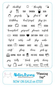 PLANNING DAY - Planner Stamps (Photopolymer Clear Stamps) planning, everyday, kawaii stamps, clear stamps, daily stamps by AtelierDreams on Etsy https://www.etsy.com/listing/252276538/planning-day-planner-stamps-photopolymer
