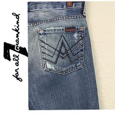 """7 for all mankind jeans 7 for all mankind """"A"""" pocket bootcut jeans. Great pre loved condition. Tag on back pocket is half cut as shown in 4th picture. Size 25 $210 authentic minimal wear to hem inseam was hemmed to 31"""" 7 for all Mankind Jeans Boot Cut"""