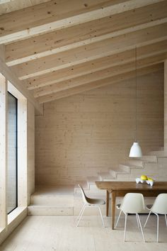 House P is a holiday home for a family of seven from Hamburg. The house takes ques from traditional Allgäu architecture, but results in a unique, contemporary building. House P's geometry was generated by maximizing t. Interior Design Magazine, Interior Minimalista, Laminate Stairs, Charred Wood, Contemporary Building, Contemporary Interior, Timber House, Wood Interiors, Minimalist Interior