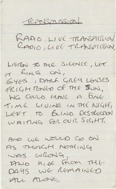 "Manuscrito de ""Transmission"" de Ian Curtis"