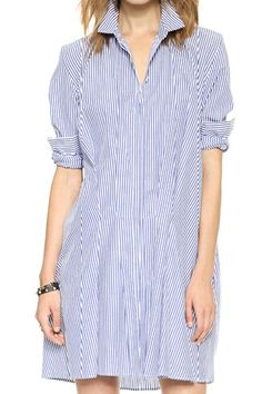 Striped Buttoned Loose Dress - Fashion Clothing, Latest Street Fashion At Abaday.com