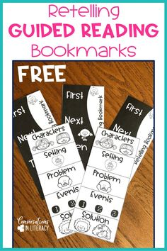 Free Retelling and Sequencing Bookmarks for guided reading small groups in your elementary classroom! guidedreading classroomorganization conversationsinliteracy kindergarten first grade second grade third grade Guided Reading Organization, Guided Reading Activities, Guided Reading Lessons, Guided Reading Groups, Student Reading, Kindergarten Reading, Reading Skills, Teaching Reading, Reading Strategies