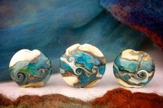 """SRA Handmade Lampwork Beads Focal Set Made for Each Other """"Neso"""" Organic Silver Glass and Texture"""