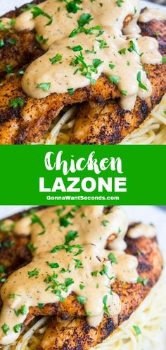 *NEW* Spice up dinner with Chicken Lazone. Deliciously seasoned and covered in a rich sauce. Made in one pan with very little prep. Great weeknight comfort food!! #ChickenLazone #OneSkilletMeal #ChickenRecipe