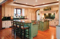 Turquoise & cream kitchen.