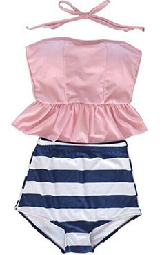 Tragarse Women Fashion Stripes Halter High Waist Swimsuit Bikini YY2 (Small, Pink1) Tragarse http://www.amazon.com/dp/B00XIYLANQ/ref=cm_sw_r_pi_dp_5P3uvb1H1B1RK