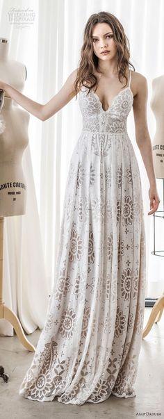 asaf dadush 2017 bridal sleeveless spaghetti strap deep sweetheart neckline full embellishment romantic sexy soft a  line wedding dress sweep train (02) lv -- Asaf Dadush 2017 Wedding Dresses
