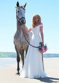 Romantic Silk-like Chiffon & Lace Off-the-shoulder Neckline A-line Wedding Dress