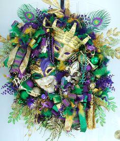 Mardi Gras wreath, Fat Tuesday, custom order , door wreath, party, handmade wreath, Fleur De Lis, Masquerade party   New Orleans,