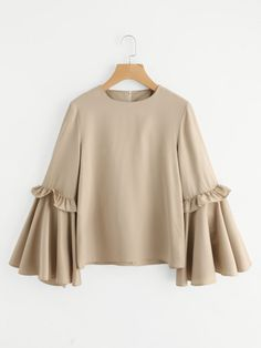 SheIn offers Frilled Bow Tie Trumpet Sleeve Top & more to fit your fashionable needs. Abaya Fashion, Muslim Fashion, Fashion Dresses, Abaya Mode, Mode Hijab, Blouse Styles, Blouse Designs, Stylish Dresses, Trendy Outfits