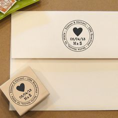 Heart Rubber Stamp with return address for Save the Dates & Wedding Invitations. $25.00, via Etsy.